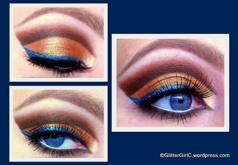 copper with a pop of blue