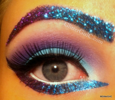 Purple and blue glitter makeup