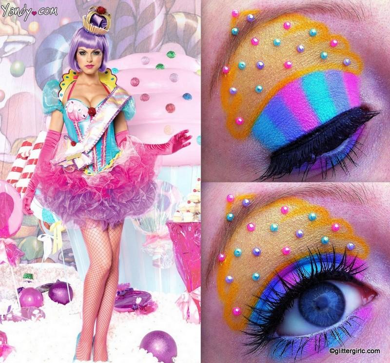 Candy cupcake makeup look GlitterGirlC - Sweet Halloween Makeup
