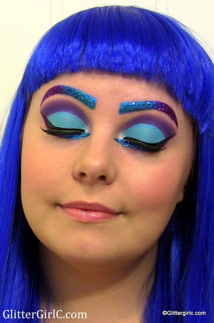 purple and blue glitter makeup