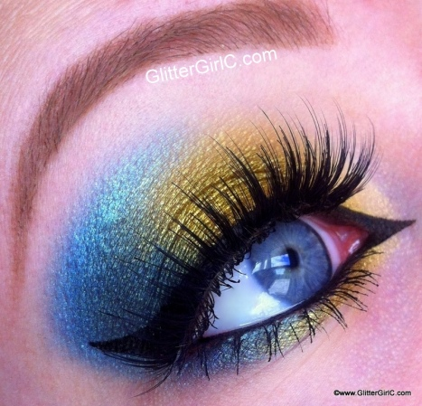 Gold, green and blue makeup