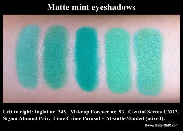 Matte mint eyeshadows