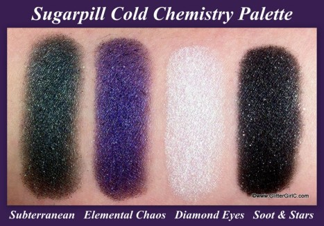sugarpill cold chemistry swatches