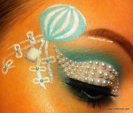 mint and white makeup look