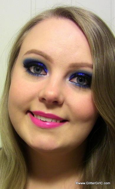 prom look blue glitter