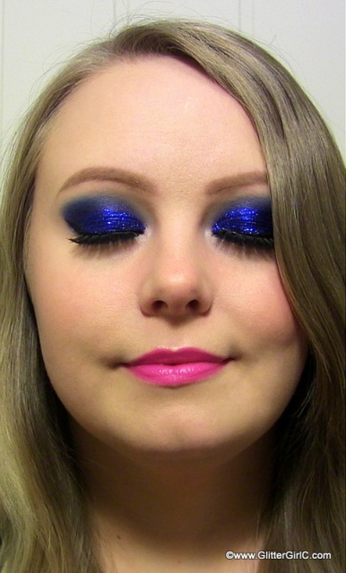 prom makeup blue glittery