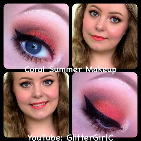 coral summer makeup