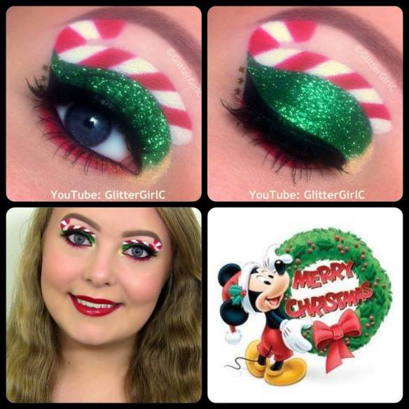Christmas makeup glitter candy cane