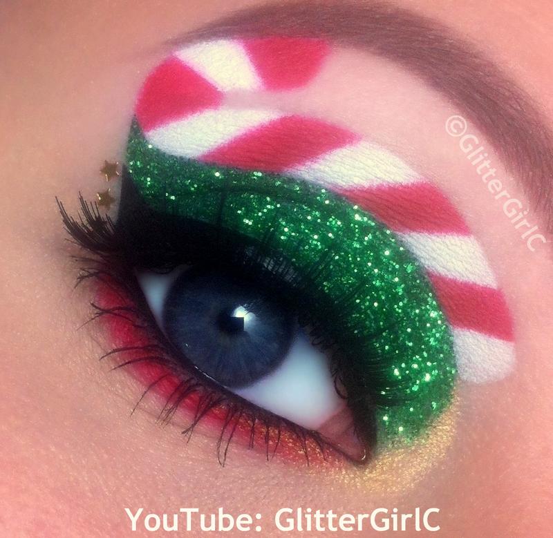 Glittery Candy Cane Christmas Makeup D Glittergirlc