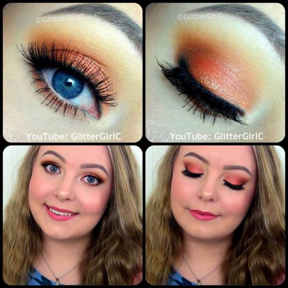 Orange summer makeup look