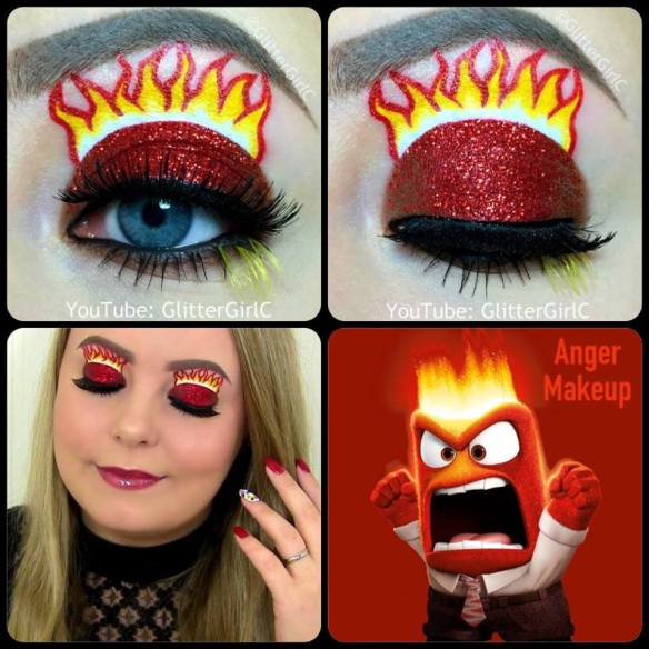 Inside Out Anger Makeup look