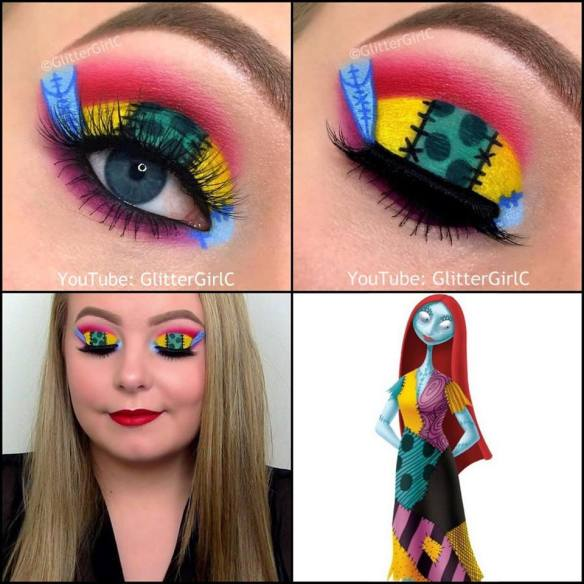 The Nightmare Before Christmas Sally makeup look