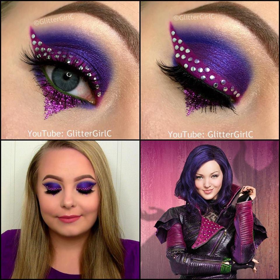 Dove cameron with purple hair looking like a cartoon