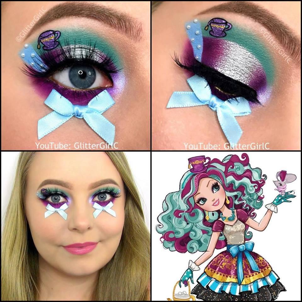 ever after high madeline hatter makeup look collage glittergirlc