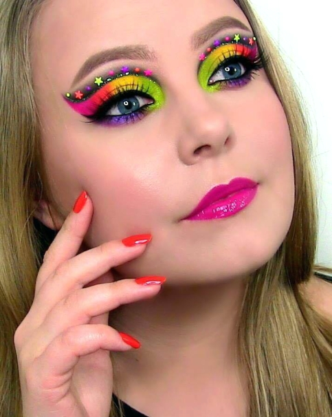 Melt Cosmetics Radioactive Stack neon makeup look
