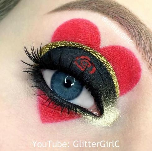 red queen makeup look queen of hearts