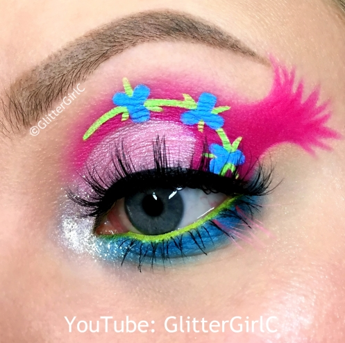 Trolls Poppy Makeup look